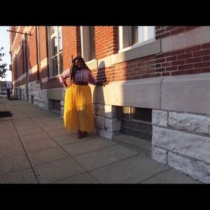 Pleated Yellow Maxi Skirt